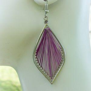 Jewelry - Purple thread earrings NWOT Boho style jewelry